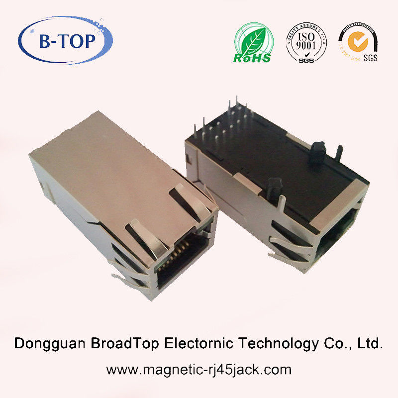 Long Body RJ45 Jack With Magnetics , RJ45 Connector Socket For Gigabit Applications